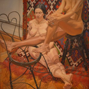Two Models With Bent Wire Chair & Kilim — Phillip Pearlstein