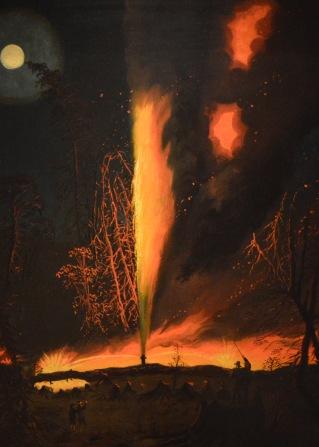 Burning Oil Well at Night, near Rouseville, Pennsylvania — James Hamilton