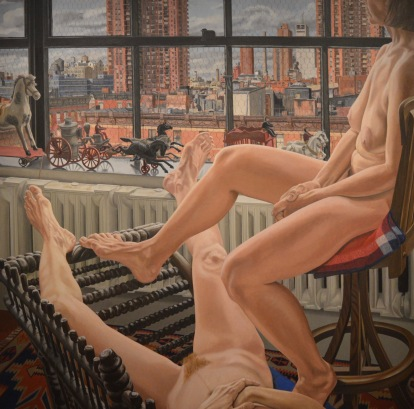 Two Models in a Window with Cast Iron Toys — Philip Pearlstein